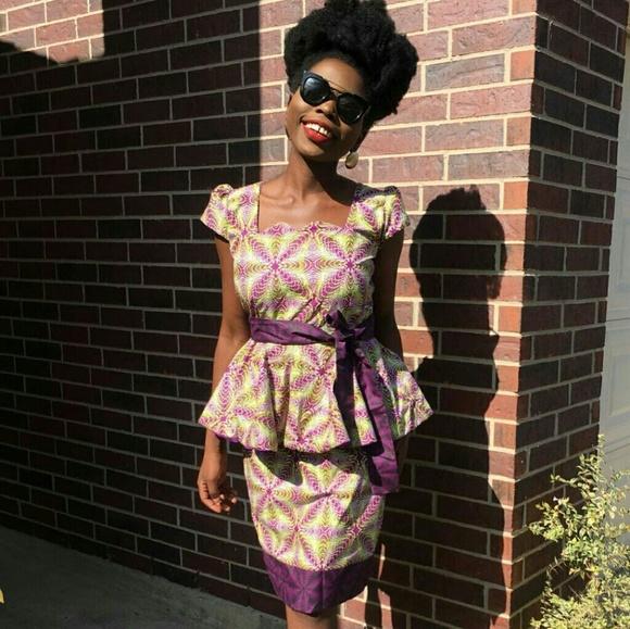 afc36f5423 Women African print knee length peplum dress